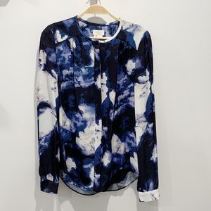 Kate Spade Abstract Floral Button Down Blouse